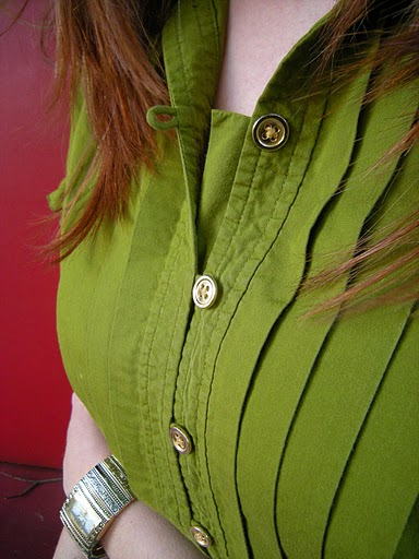 Green Blouse Gold Buttons